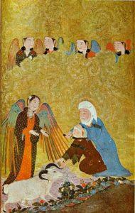 Жертвоприношение Ибрахима. «Тимуридская антология», Шираз, 1410-11гг. Коллекция Гюльбекяна, Лиссабон.